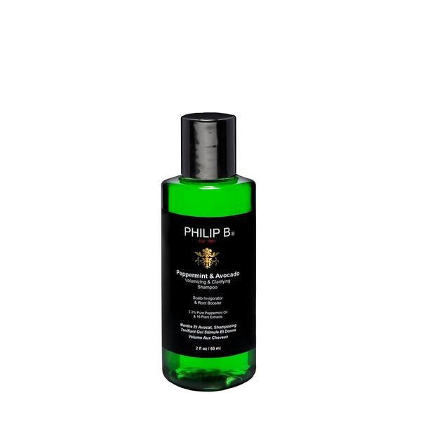 Philip B Peppermint & Avocado Volumizing & Clarifying Shampoo Vitalisiert die Kopfhaut und stärkt die Haarwurzeln 2,3 % reines Pfefferminzöl & 16 reine Pflanzenextrakte Für alle Haartypen geeignet Mildes pH-neutrales Shampoo